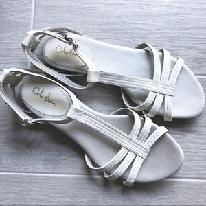Cole Haan white patent leather gladiator sandals